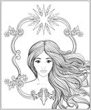 Jong mooi meisje met lang haar De vector van de voorraadlijn illustrat royalty-vrije illustratie