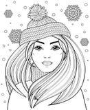 Jong mooi meisje met lang haar in gebreide hoed Tatoegering of volwassen antistress vector illustratie