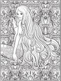 Jong mooi meisje met lang haar op schommeling in roze tuin Sto vector illustratie