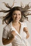 Jong mooi meisje met positieve uitdrukking Stock Foto