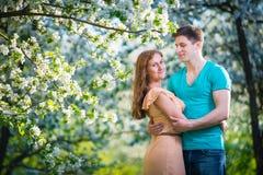 Jong mooi paar in liefde onder appelbomen Stock Foto's