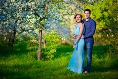 Jong mooi paar in liefde onder appelbomen Stock Afbeelding