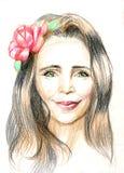 Jong mooi vrouwenportret Getrokken elegante meisjes rode bloemen Romantische dameschets Groen-eyed meisje met een bloem in haar royalty-vrije illustratie