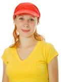 Jong mooi vrouwenportret met rood GLB stock afbeeldingen