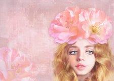 Jong mooi zoet meisje met lang golvend rood haar Hand getrokken romantische illustratie Dromerig vrouwenportret stock illustratie