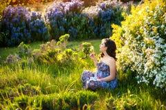Jong mooi zwanger meisje in bloeiende tuin die op paardebloem blazen stock afbeeldingen