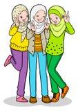 Jong moslimmeisje drie Stock Foto