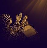 Jong Moslimmeisje tijdens Duaa stock fotografie