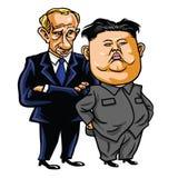 Jong-ONU di Kim con Vladimir Putin Illustrazione di vettore del fumetto 17 maggio 2017 Immagini Stock