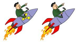 Jong-ONU di Kim sul missile Fotografie Stock