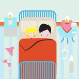 Jong paar in bed Vector Illustratie