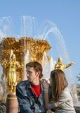 Jong paar bij een fontein Stock Fotografie