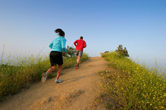 Jong paar dat bovenop een heuvel loopt. Royalty-vrije Stock Fotografie