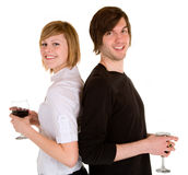 Jong Paar dat Rode Wijn heeft Royalty-vrije Stock Afbeelding