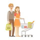 Jong Paar dat voor Kruidenierswinkels met Boodschappenwagentje, Illustratie van Gelukkige het Houden van Familiesreeks winkelt stock illustratie
