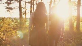 Jong paar die in bos bij mooie zonsondergang lopen De zonstralen glanzen Minnaars in aard Langzame mo, steadicam schot, backview stock videobeelden