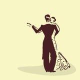 Jong paar die de wals dansen stock illustratie