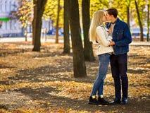 Jong paar die en in park koesteren flirten Stock Afbeelding