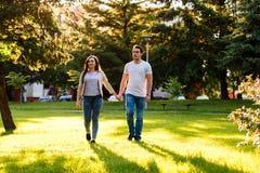 Jong paar die in liefde door weide op zonnige dag lopen stock foto