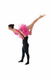 Jong paar het dansen ballet dat op wit wordt geïsoleerd royalty-vrije stock afbeeldingen