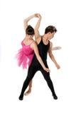 Jong paar het dansen geïsoleerdi ballet stock fotografie
