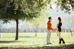 Jong paar in het de herfstpark stock afbeeldingen