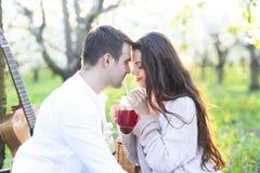 Jong paar in liefde bij picknick in de tuin van de de lentebloesem Stock Afbeeldingen
