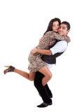 Jong paar in liefde, het koesteren die, mens haar houdt Royalty-vrije Stock Foto's