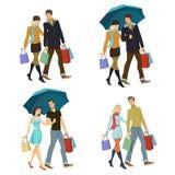 Jong paar met het winkelen Stock Foto