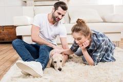 Jong paar met puppy Royalty-vrije Stock Foto