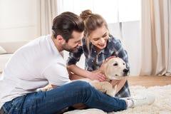 Jong paar met puppy Stock Fotografie