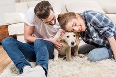 Jong paar met puppy Royalty-vrije Stock Afbeelding