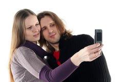 Jong paar in studio Stock Foto's