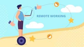 Jong Personenvervoer Hoverboard met Laptop in Handen royalty-vrije illustratie