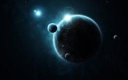 Jong planeetsysteem in verre diepe ruimte Stock Afbeeldingen