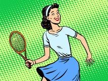 Jong retro de stijlpop-art van het vrouwen speeltennis stock illustratie