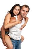 Jong romantisch paar dat pret in studio heeft Stock Foto's