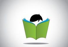 Jong slim jongensjong geitje die 3d groene open concept van het boekonderwijs lezen Royalty-vrije Stock Afbeelding