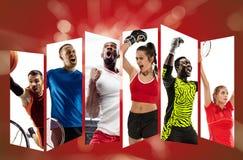 Jong sportteam tegen rode achtergrond, collage royalty-vrije stock afbeelding