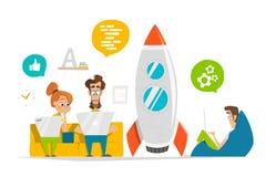 Jong team die aan startopstarten in modern bureau werken stock illustratie