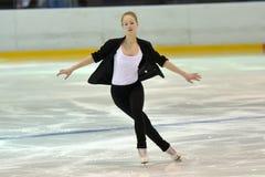Jong team van een school van het schaatsen op ijs royalty-vrije stock foto