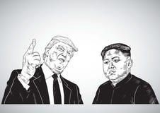 Jong-un de Donald Trump Vs Kim Ilustração do desenho do retrato do vetor 31 de outubro de 2017 Foto de Stock