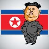 Jong-un de Kim com a bandeira da Coreia do Norte no fundo Ilustração do vetor dos desenhos animados 1º de maio de 2017 ilustração do vetor