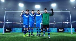 Jong voetbalteam voor het doel op professioneel 3D voetbal stock foto