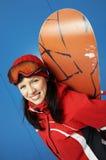 Jong volwassen wijfje snowboarder Royalty-vrije Stock Fotografie