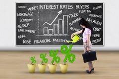 Jong vrouw en percentagesymbool Royalty-vrije Stock Afbeelding