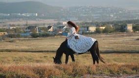 Jong vrouw het berijden paard op weide stock video