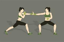 Jong vrouw het vechten lichaamsgevecht vector illustratie
