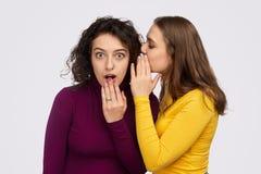 Jong vrouw het vertellen geheim aan geschokte vriend royalty-vrije stock foto