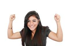 Jong vrouw het vieren succes Stock Foto's